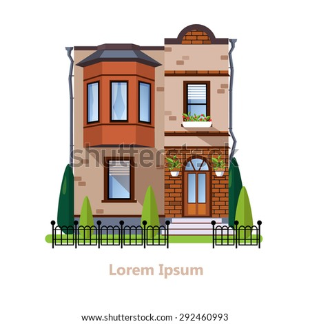Colorful Flat Residential Houses vector - stock vector