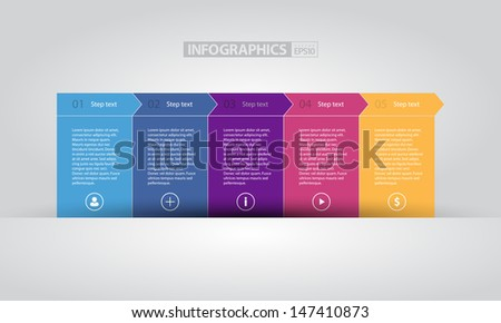 Colorful Flat Step by Step / EPS10 Vector Illustration / can be use for web design, web elements, infographics, banners, advertising, applications / - stock vector