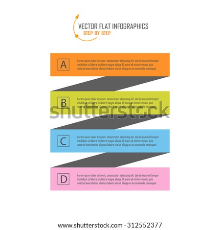 Colorful flat Step by Step infographic design. Vector Illustration. - stock vector