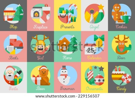 Colorful flat style christmas illustrations, illustrated vector icons - stock vector