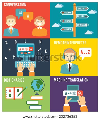 Colorful Flat Style Graphic Design of Learning Foreign Language Concept - stock vector