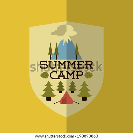 Colorful Flat Summer Holiday and Travel themed Summer Camp Background Illustration - stock vector