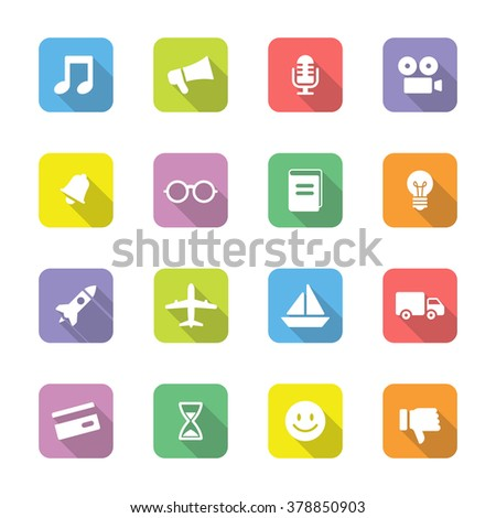 colorful flat transport and miscellaneous icon set 5 on rounded rectangle with long shadow for web design, user interface (UI), infographic and mobile application (apps) - stock vector