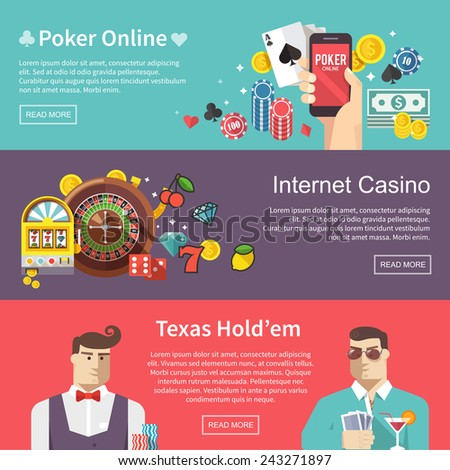Colorful flat vector banners set. Quality design illustrations, elements and concept. Poker online. Internet casino. Texas hold'em. - stock vector