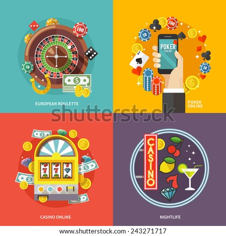 Colorful flat vector concept composition. Quality design illustrations, elements and concept. European roulette. Poker online. Casino online. Nightlife. - stock vector