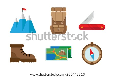 Colorful flat vector icons set. Quality design illustrations, elements and concept. Camping icons. - stock vector