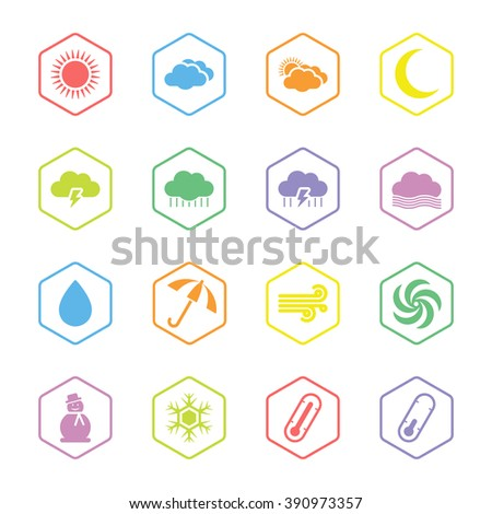 colorful flat weather icon set with hexagon frame for web design, user interface (UI), infographic and mobile application (apps) - stock vector