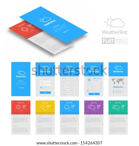 Colorful Flat Weather Mobile Web UI Concept / EPS10 Vector Illustration / - stock vector