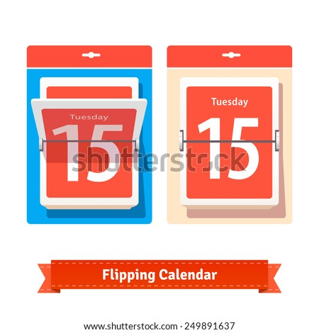 Colorful flipping calendar. Flat style illustration or icon. EPS 10 vector. - stock vector