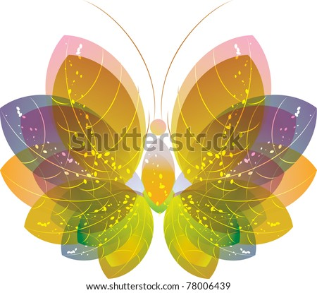 Colorful floral abstract butterfly over white, vector eps10 - stock vector
