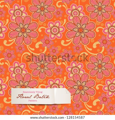 colorful floral batik pattern (seamlessly tiling) - stock vector