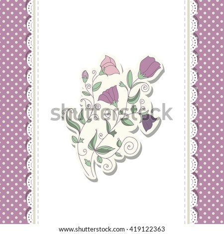 Colorful floral doodle template for kid, child party, baby shower card, Happy birthday, wedding, invitation. Vector illustration. - stock vector