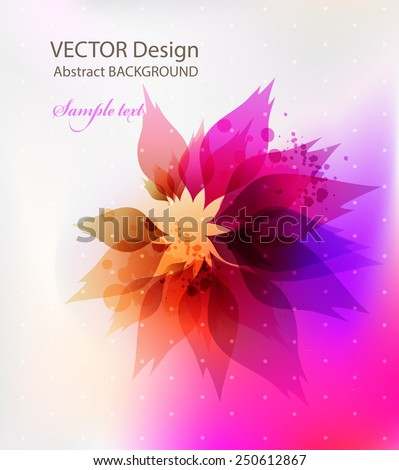colorful floral elements. Abstract artistic Background with floral element and colorful blots. - stock vector
