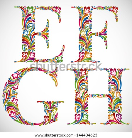 Colorful floral font, ornate alphabet letters E F G H, vector. - stock vector