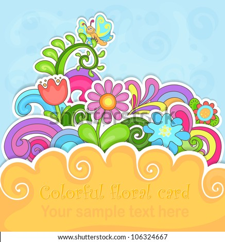 Colorful floral greeting card in paper style - stock vector