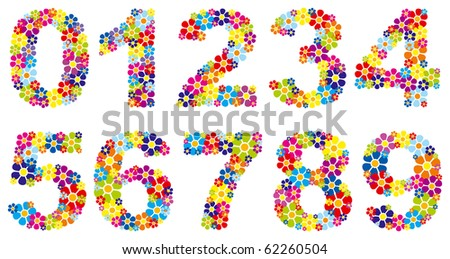 Colorful floral numbers - vector - stock vector