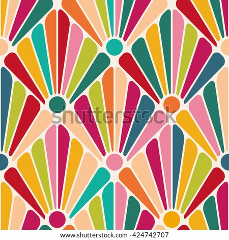 Colorful floral pattern. Bright abstract background. Diagonal decorative ornament. Modern style. Attractive cover, wallpaper or gift wrap. Seamless vector illustration. - stock vector