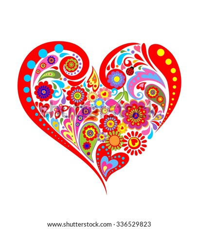 Colorful floral print with heart shape - stock vector