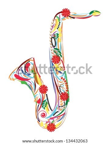 Colorful floral saxophone - stock vector