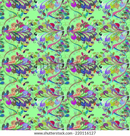 Colorful floral seamless pattern. Seamless texture with summer branch on blue background. Seamless pattern can be used for wallpaper, pattern fills, web page background,surface textures.  - stock vector