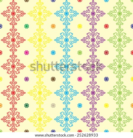 Colorful floral seamless pattern. Vintage background. - stock vector