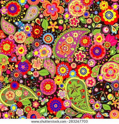 Colorful floral wallpaper with hippie symbolic - stock vector