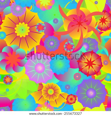 Colorful flower background. Seamless pattern - stock vector