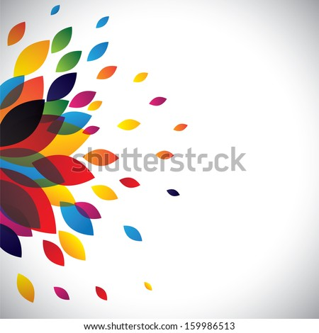 Colorful flower petals of a beautiful flower as background. This abstract vector graphic contains spring time flower and petals in red, orange, yellow, green, blue, pink and other colors - stock vector