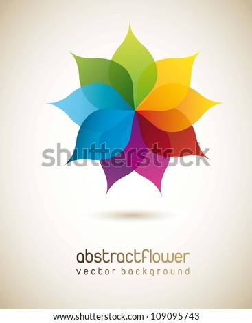 colorful flower with shadow background. vector illustration - stock vector