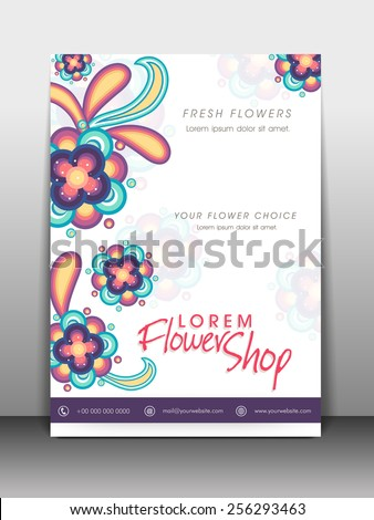 Colorful flowers decorated flyer, banner or template design for flower shop. - stock vector