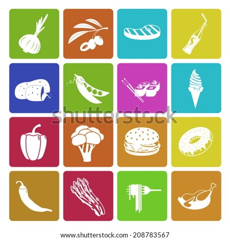 Colorful food and vegetable icon set - stock vector