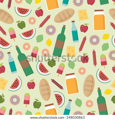 Colorful food pattern. Different ingredients. Meal time. - stock vector