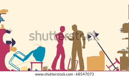 Colorful foreground silhouette of a couple having a serous domestic argument in a living room - stock vector