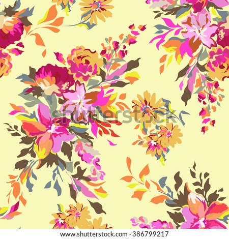 colorful funky abstract floral ~ seamless background - stock vector