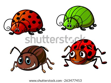Colorful funny bugs cartoon characters showing red spotted ladybugs, bright green glowworm and colorado potato beetle for childish decor or mascot design - stock vector