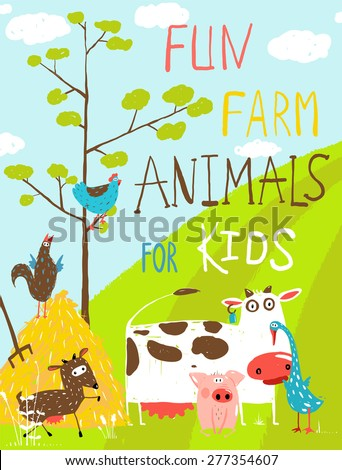 Colorful Funny Cartoon Farm Domestic Animals Greeting Card. Countryside cottage animals illustration for children. Vector EPS10. - stock vector