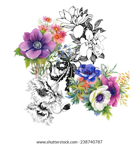 Colorful garden flowers on white background vector illustration - stock vector