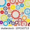 colorful gears over white background - stock vector