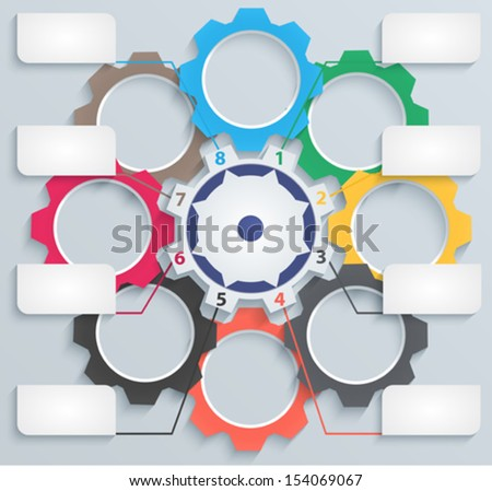 Colorful gears with paper tabs. Suitable for infographics, presentations, for web design, advertising, modern template - stock vector