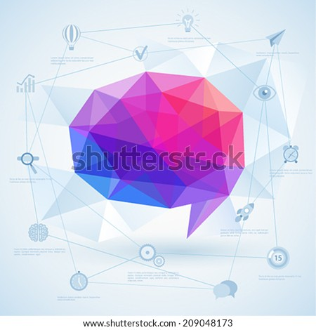 Colorful geometric bubble for speech. Vector illustration. - stock vector