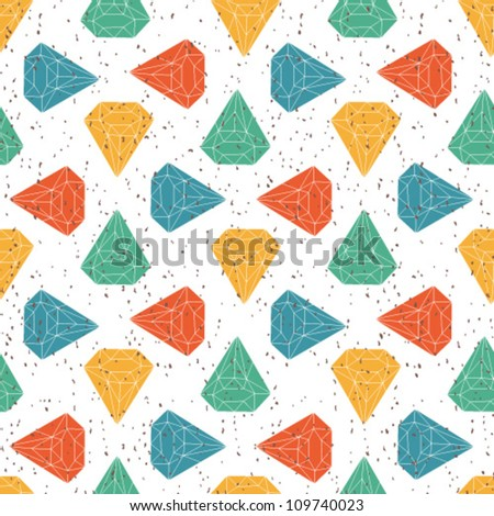 Colorful Geometric seamless background with diamonds. - stock vector