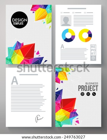 Colorful geometric vector template in the vivid colors of the rainbow for a company project with crystals or points and editable copyspace for text and circular analytical graphs - stock vector