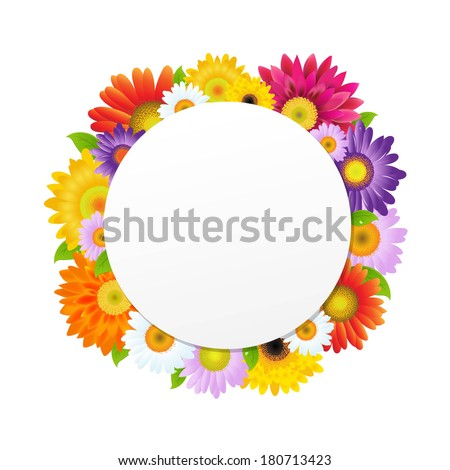 Colorful Gerbers Flower Banner, With Gradient Mesh, Vector Illustration - stock vector