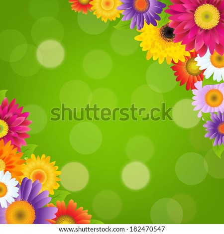 Colorful Gerbers Flowers Border With Green Bokeh, With Gradient Mesh, Vector Illustration - stock vector