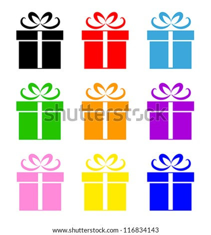 Colorful gift box symbol set isolated on white. Vector illustration - stock vector