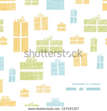 Colorful gift boxes textile texture frame corner pattern background - stock vector