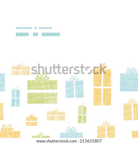 Colorful gift boxes textile texture horizontal frame seamless pattern background - stock vector