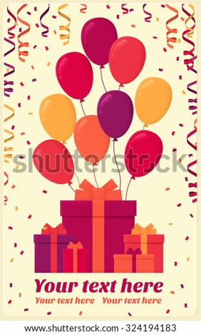 Colorful gift boxes with flying balloons, confetti and paper streamers. Retro vector illustration. Place for your text. Design for poster, invitation, card, banner, gift certificate  - stock vector