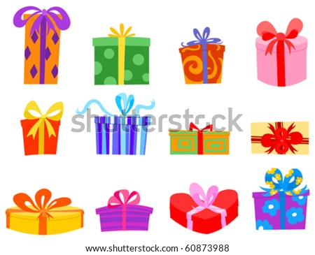 Colorful gift set - stock vector