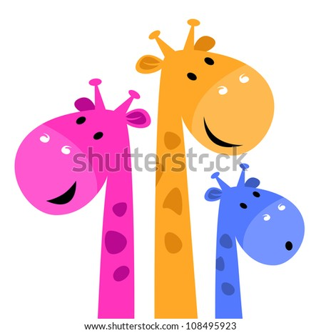 Colorful giraffe family isolated on white - stock vector